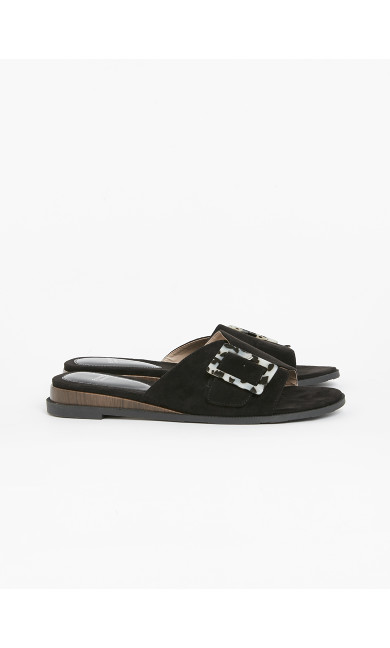 EXTRA WIDE FIT Black Buckle Sandals