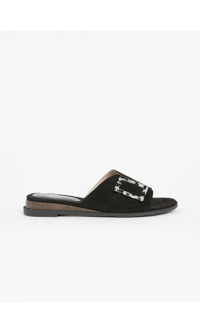 WIDE FIT Black Buckle Sandals
