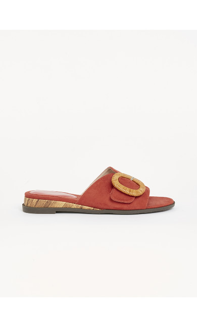 WIDE FIT Rust Buckle Sandals