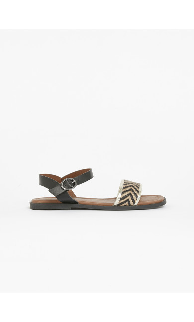 EXTRA WIDE FIT Black Chevron Strap Sandals