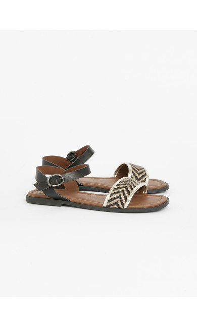 EXTRA WIDE FIT Black Chevron Strap Sandals
