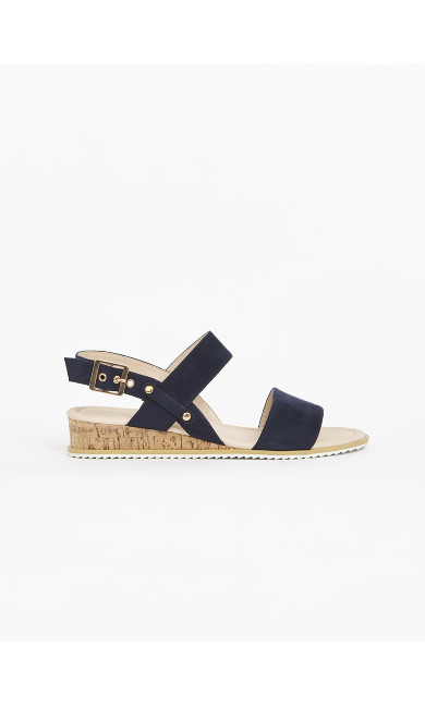 EXTRA WIDE FIT Navy Blue Cork Wedge Sandals