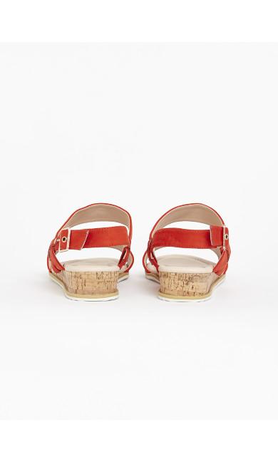 EXTRA WIDE FIT Orange Cork Wedge Sandals