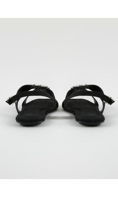 EXTRA WIDE FIT Black Embellished Sandals
