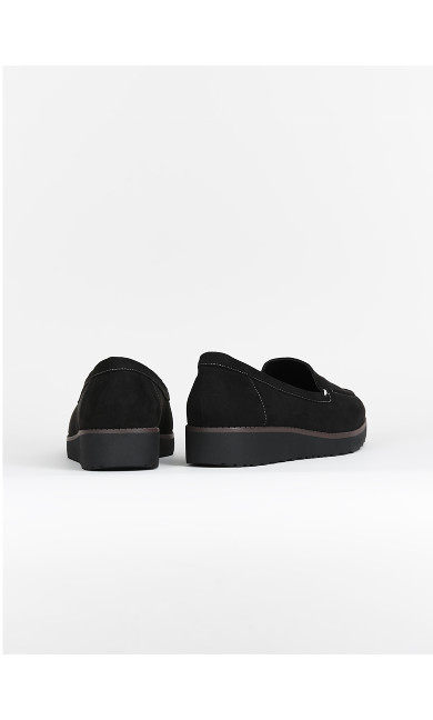 EXTRA WIDE FIT Black Stitch Loafers