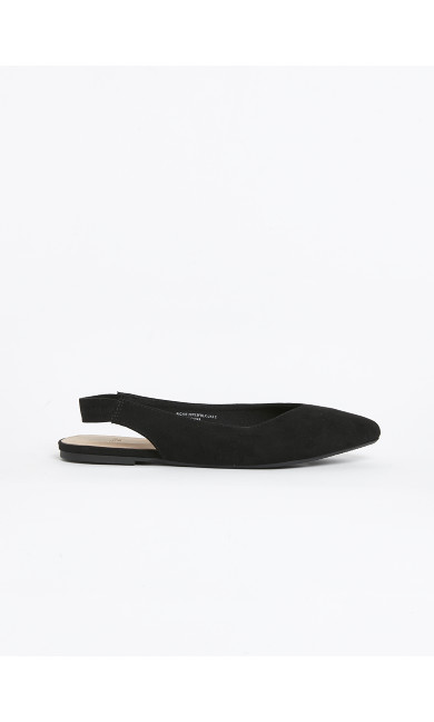 WIDE FIT Black Slingback Pointed Flat Shoes