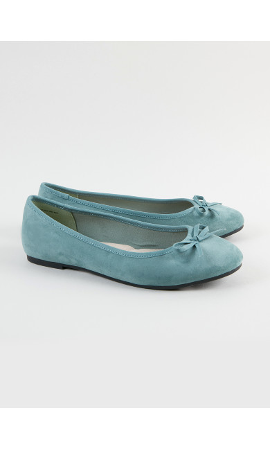 EXTRA WIDE FIT Teal Bow Ballet Pumps