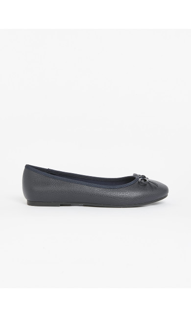 EXTRA WIDE FIT Navy Blue Textured Ballerina Shoes