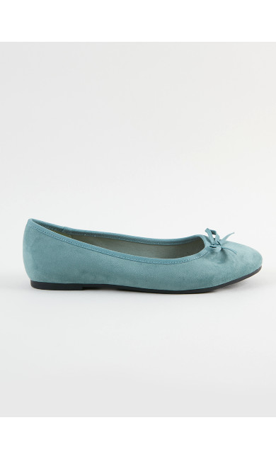 WIDE FIT Teal Bow Ballet Pumps
