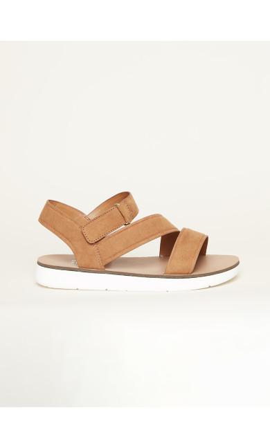 WIDE FIT Cross Strap Sporty Sandal - tan