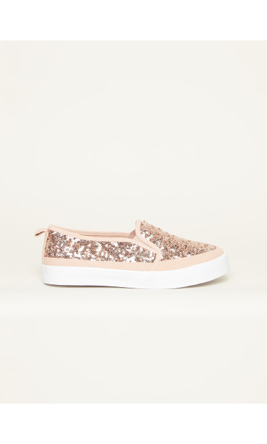 WIDE FIT Sequin Canvas Flat - pink