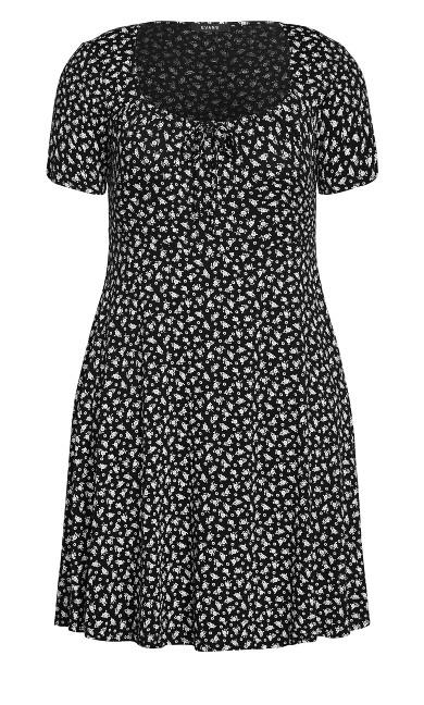 Floral Tie Neck Dress - black
