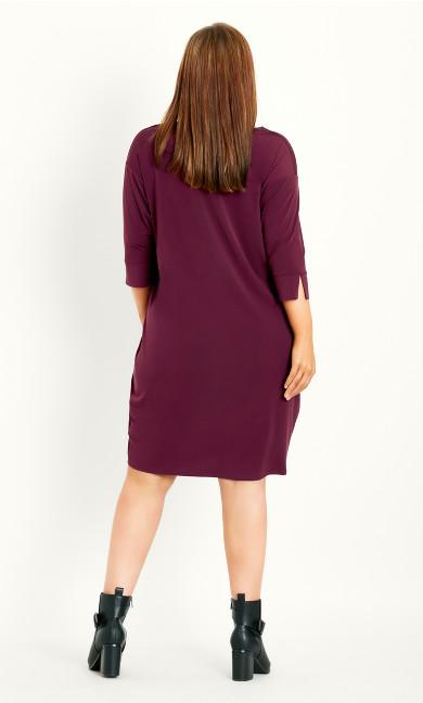 Button Sleeve Dress - berry