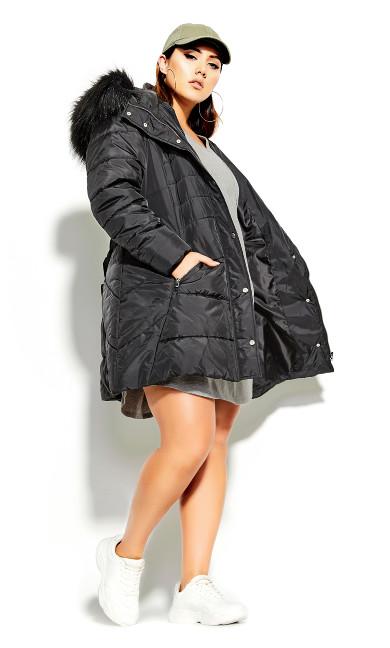 Plus Size Longline Puffa Jacket - black