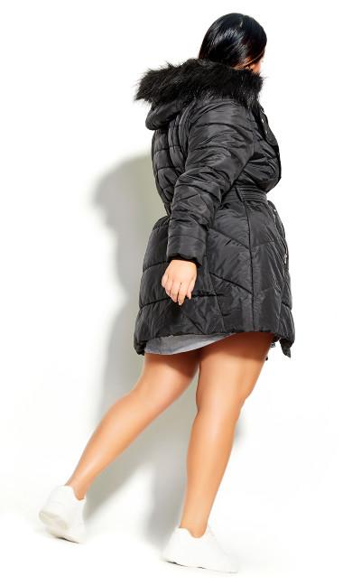 Longline Puffer Jacket - black