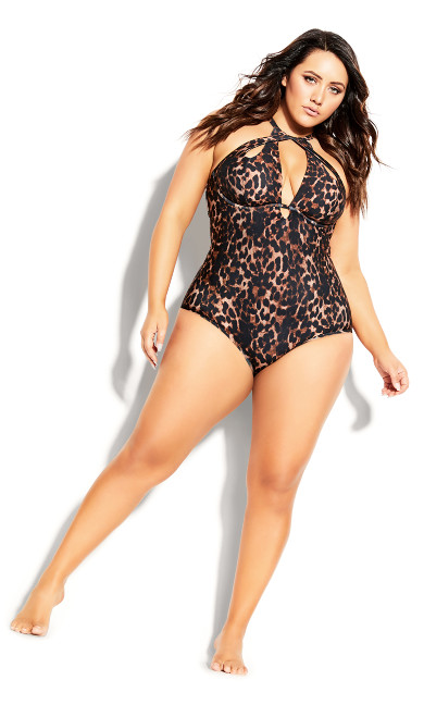 Plus Size Cancun Underwire 1 Piece - animal