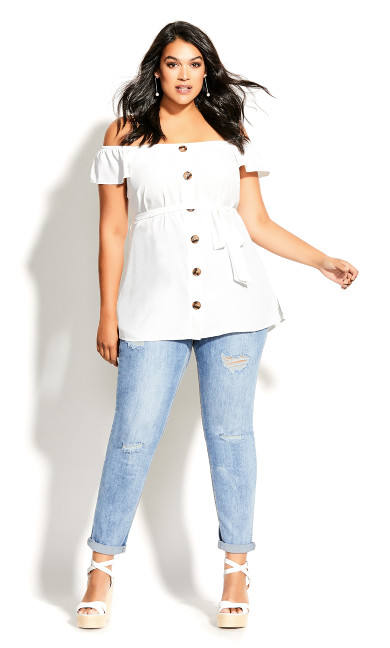 Sweety Button Top - ivory
