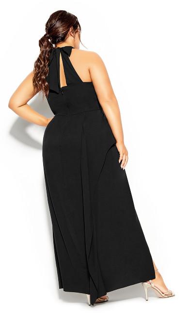 Halter Flair Maxi Dress - black