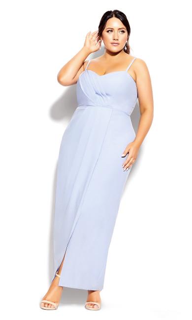 Plus Size Sweet Drape Maxi Dress - powder