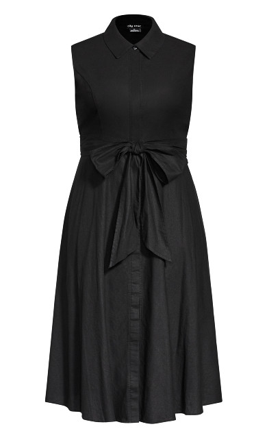 Shirt Detail Dress - black