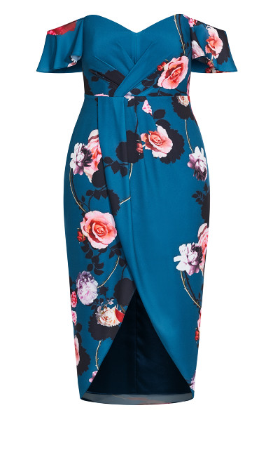 Floral Bliss Maxi Dress - teal