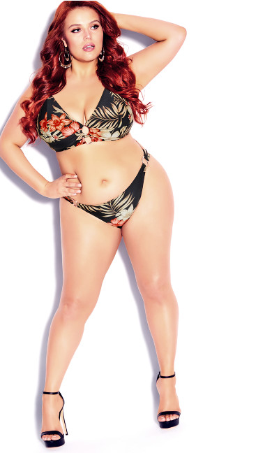 Plus Size Amara Tropical Bikini Brief - black
