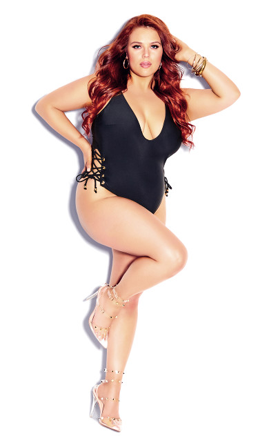 Plus Size Lace Up 1 Piece - black