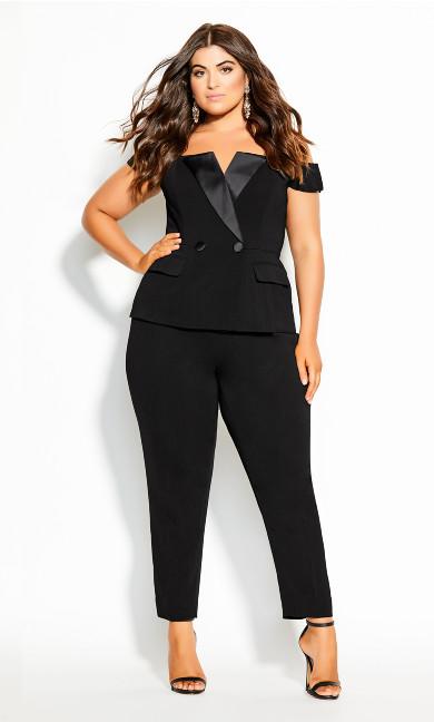 Sexy Tux Jumpsuit - black