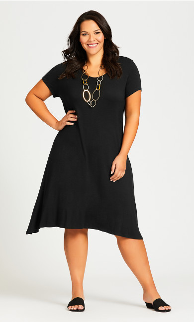 Plus Size Cross Back Knit Plain Dress - black