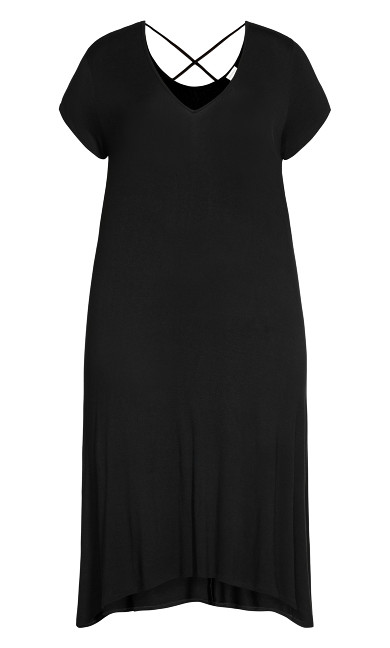 Cross Back Knit Plain Dress - black