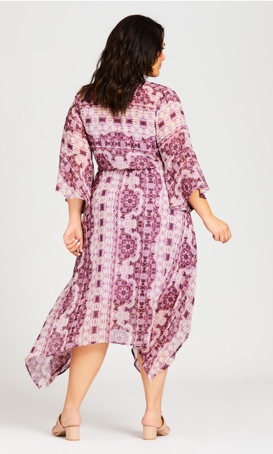 Hanky Hem Print Dress - lilac