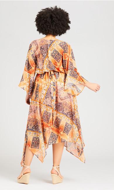 Hanky Hem Print Dress - sunkissed