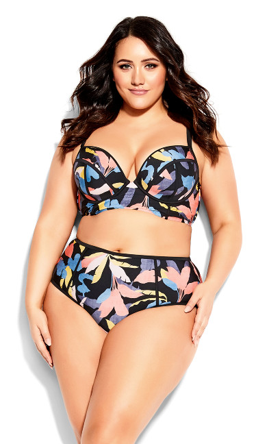 Plus Size Grenada Floral Brief - black