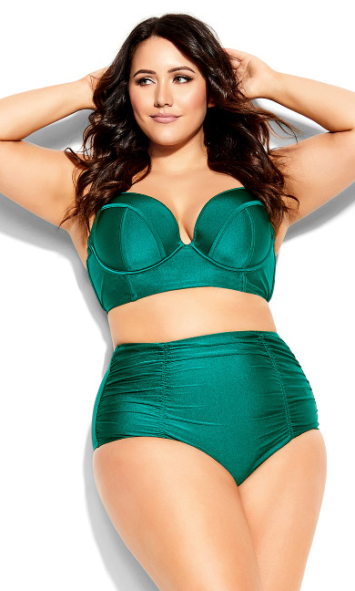 Plus Size Azores Bikini Brief - emerald