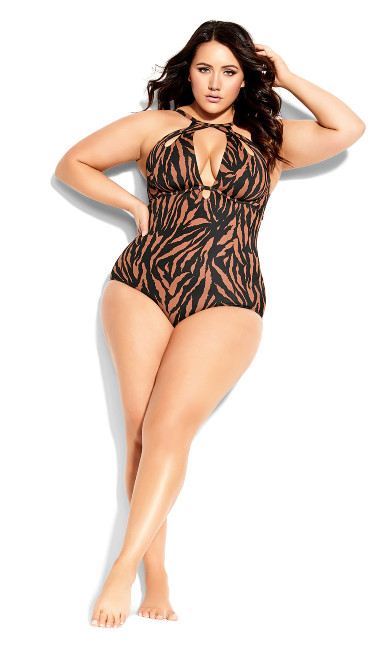 Plus Size Cancun Underwire 1 Piece - tiger print