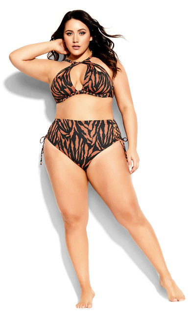 Plus Size Cancun Underwire Top - tiger print
