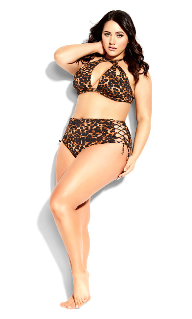 Plus Size Cancun High Brief - animal print