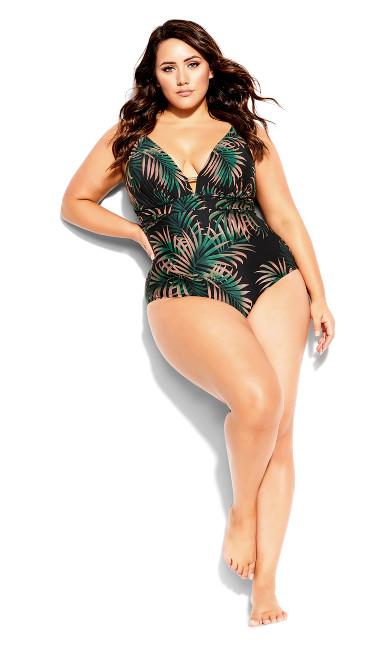 Yasmin Print 1 Piece  - black tropical fern