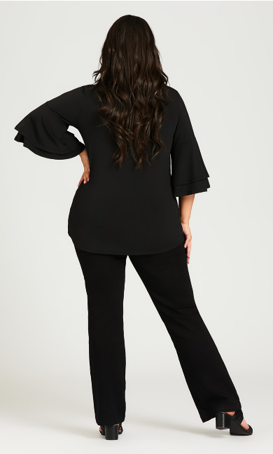 Double Bell Sleeve Top - black