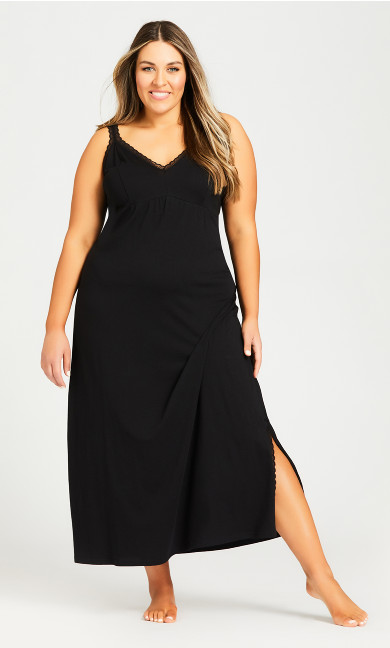 Plus Size Sleep Lace Trim Maxi Dress - black