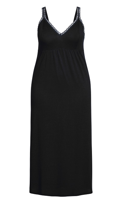 Lace Trim Maxi Sleep Dress - black