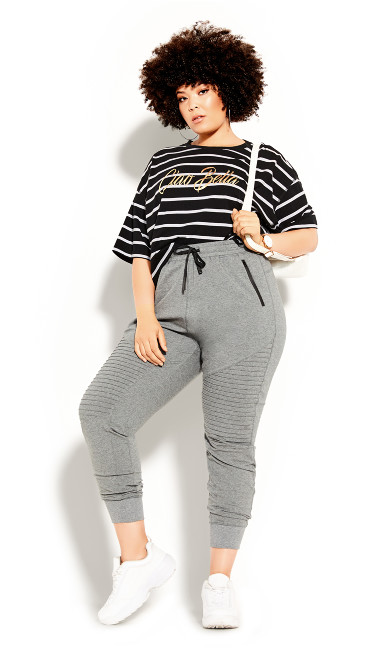 Plus Size Boyfriend Stripe Tee - black