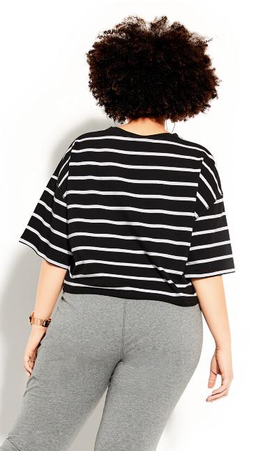 Boyfriend Stripe Tee - black