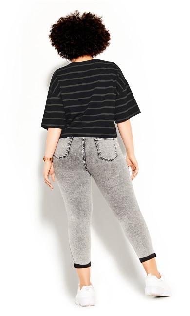 Boyfriend Stripe Tee - khaki