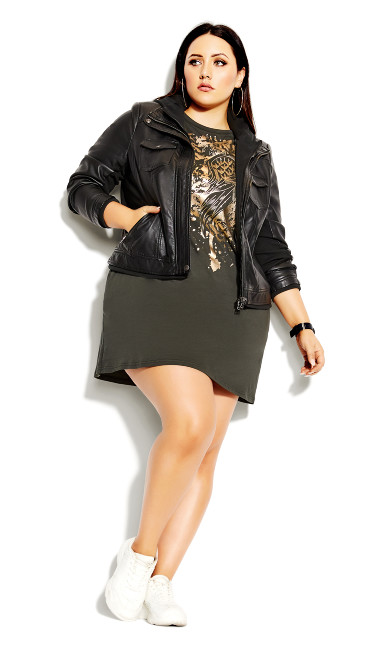 Plus Size Heart Wings Dress - khaki