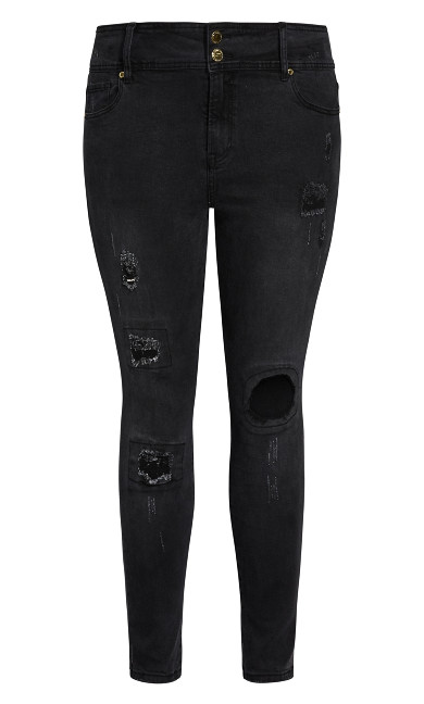 Asha Patched Apple Skinny Jean - black