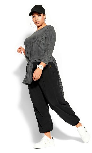 Plus Size Simple Stripe Top - black