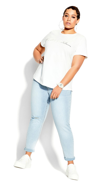 Plus Size Clean Lines Tee - ivory
