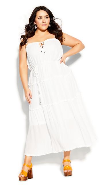 Plus Size Fine Frill Maxi Dress - ivory