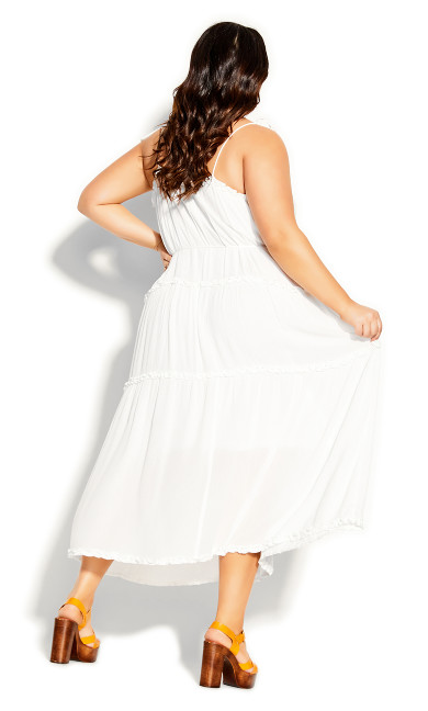 Fine Frill Maxi Dress - ivory